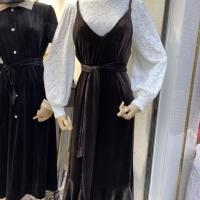 蕾丝丝绒吊带裙套装