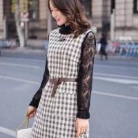 春款格子连衣裙