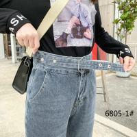 蓝灰色腰带小夸裤裤