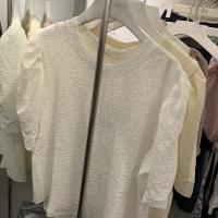 雪纺压花泡泡袖短袖T恤