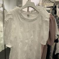 雪纺压格泡泡袖短袖T恤