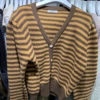 条纹毛衣开衫外套
